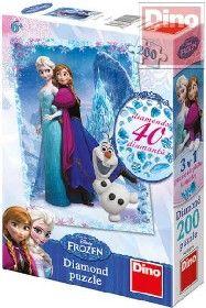 Puzzle 200 dílků Ledové království (Frozen) set s drahokamy 200 dílků dino