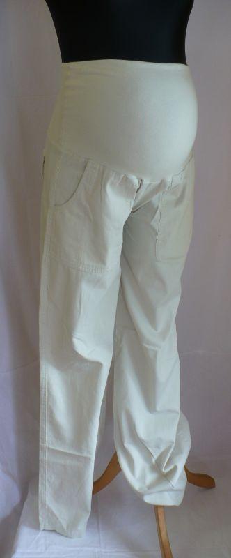 Těhotenské dlouhé kalhoty plátěné v. L 9FASHION