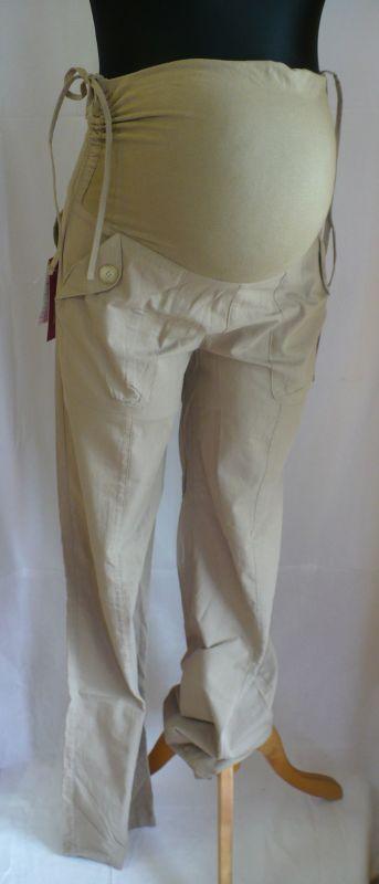 Těhotenské dlouhé kalhoty plátěné v. M 9FASHION