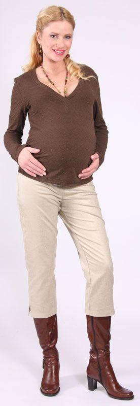 3/4 těhotenské manšestrové kalhoty - hnědé vel. 38 Rialto