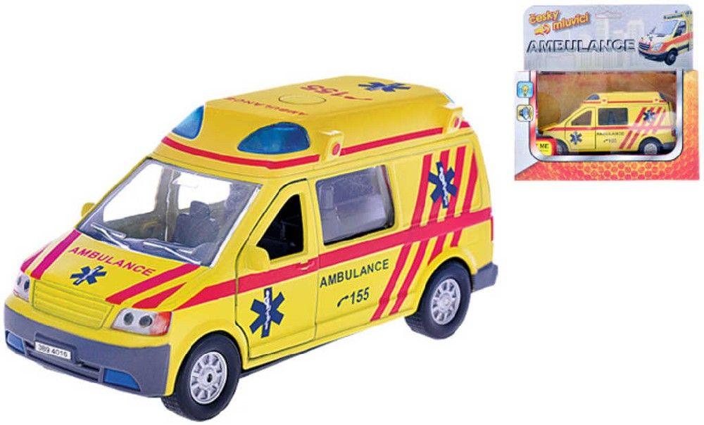 Auto ambulance 13cm zpětný nátah PB CZ mluvící Světlo Zvuk Kov Kids globe
