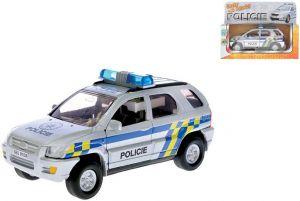 Auto policie 13cm zpětný nátah PB CZ mluvící Světlo Zvuk Kov