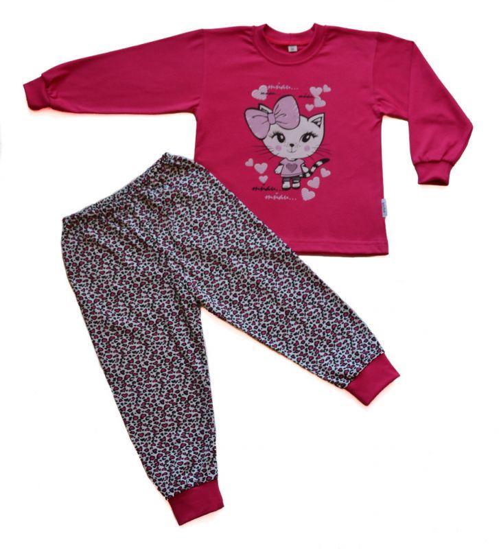 Dívčí bavlněné pyžamo Kočička s mašlí BETTY MODE