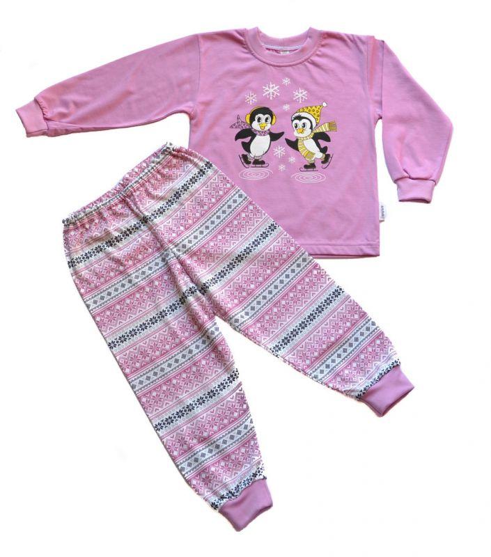 Dívčí bavlněné pyžamo Tučňáci na bruslích BETTY MODE