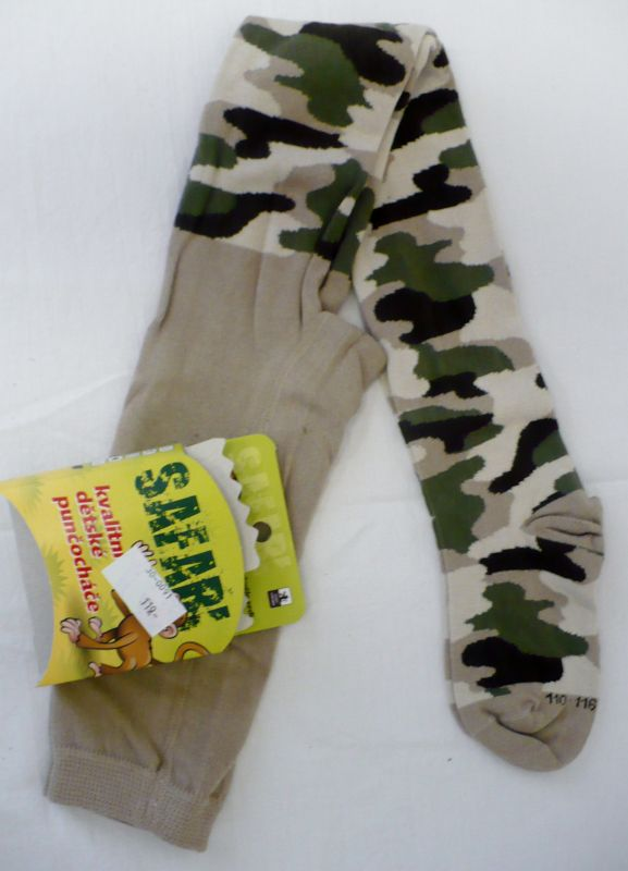 Dětské punčochové kalhoty punčocháče maskáčový vzor Pondy
