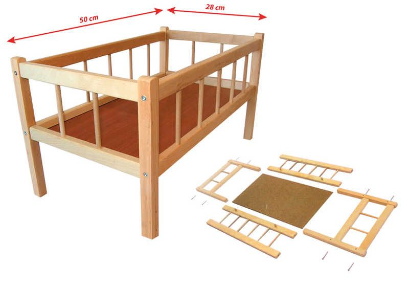 DŘEVO Postýlka dřevěná pro panenku 50x28 cm * DŘEVĚNÉ HRAČKY *