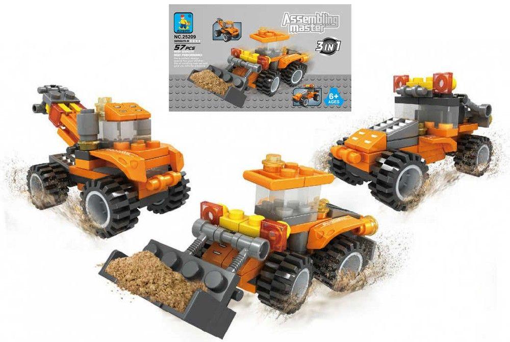Stavebnice ASSEMBLING 3v1 stavební stroje 57 dílků plast Ausini