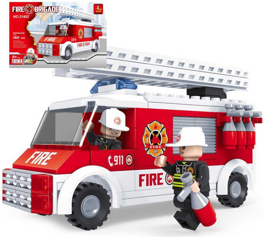 Stavebnice HASIČI auto hasičské žebřík sada 150 dílků + 2 figurky plast Ausini