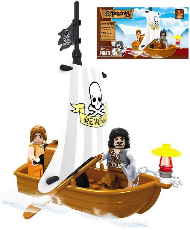 Stavebnice PIRÁTI člun pirátský sada 44 dílků + 2 figurky plast Ausini
