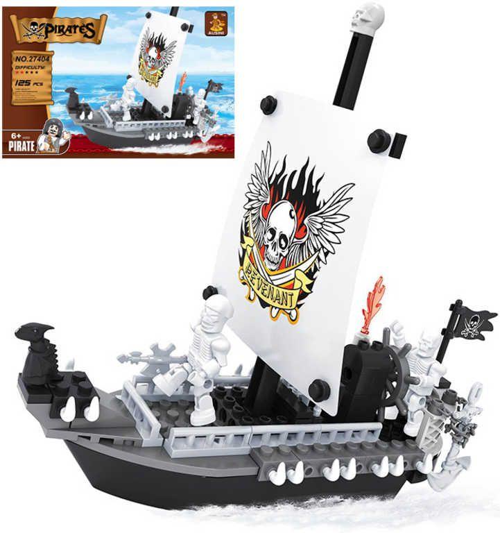 Stavebnice PIRÁTI pirátská loď sada 125 dílků + 2 figurky plast Ausini