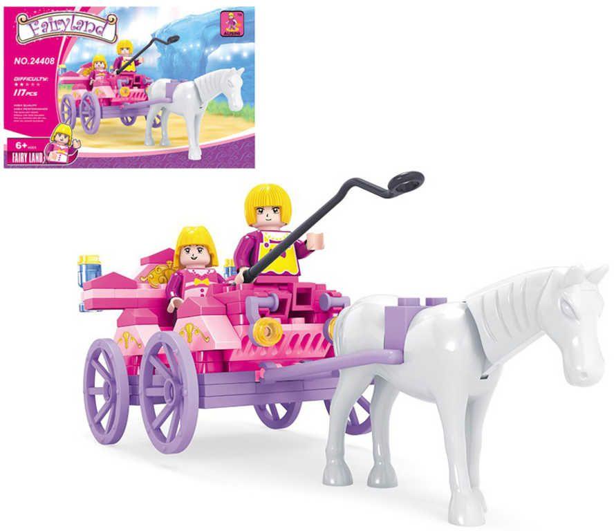 Stavebnice POHÁDKOVÁ kočár s koněm sada 117 dílků + 2 figurky plast Ausini
