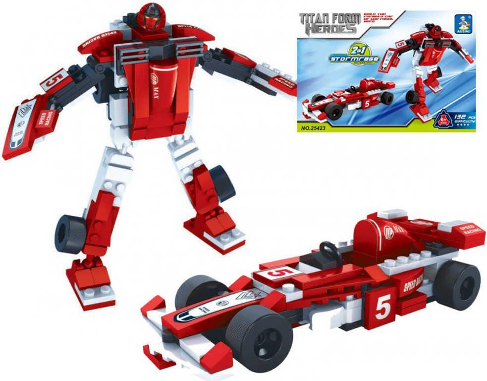 Stavebnice TRANSROBOT 2v1 formule robot 132 dílků plast Ausini