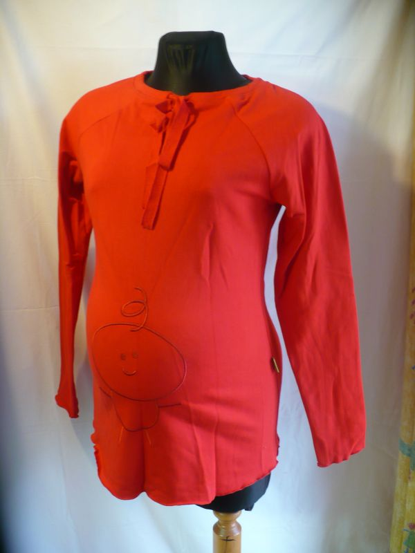 Těhotenské tričko dlouhý rukáv miminko na bříšku vel.S/M