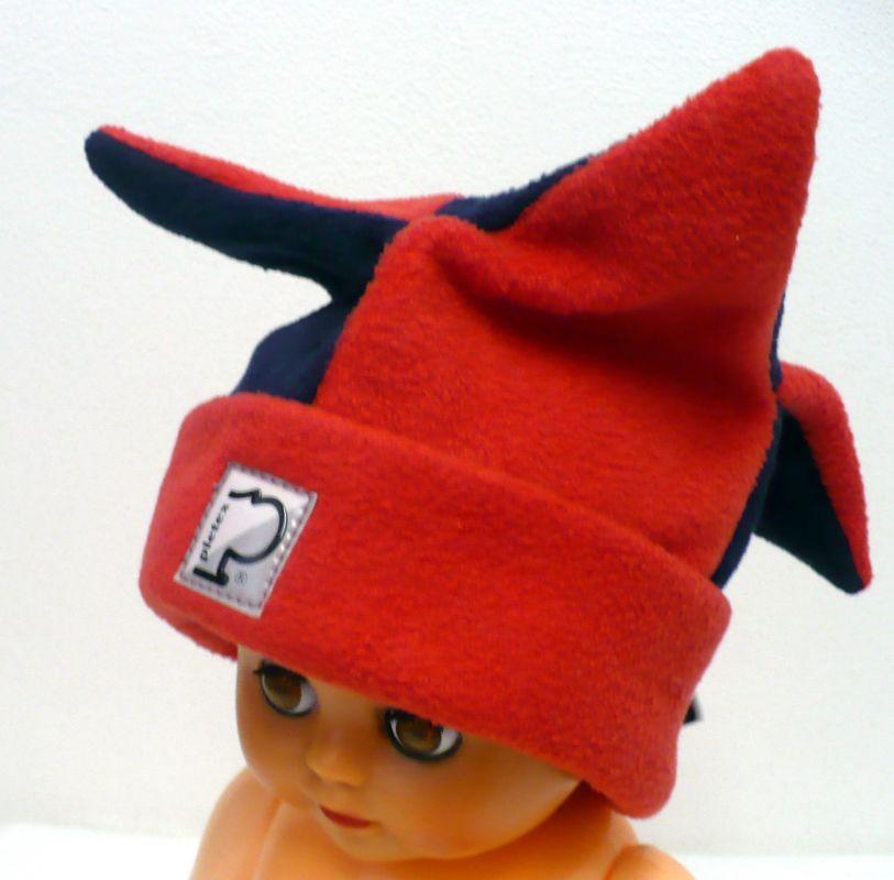 Čepice zimní flísová kašpárek modrá červená Pletex