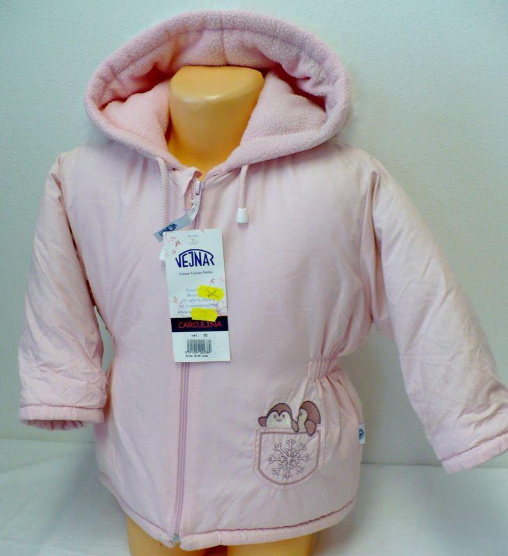 Dívčí zimní bunda kabát s flísem, kapucí 110 -VÝPRODEJ Vejnar