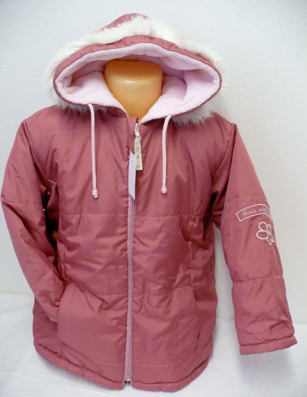 Dívčí zimní bunda kabát s flísem, kapucí 116- VÝPRODEJ Vejnar
