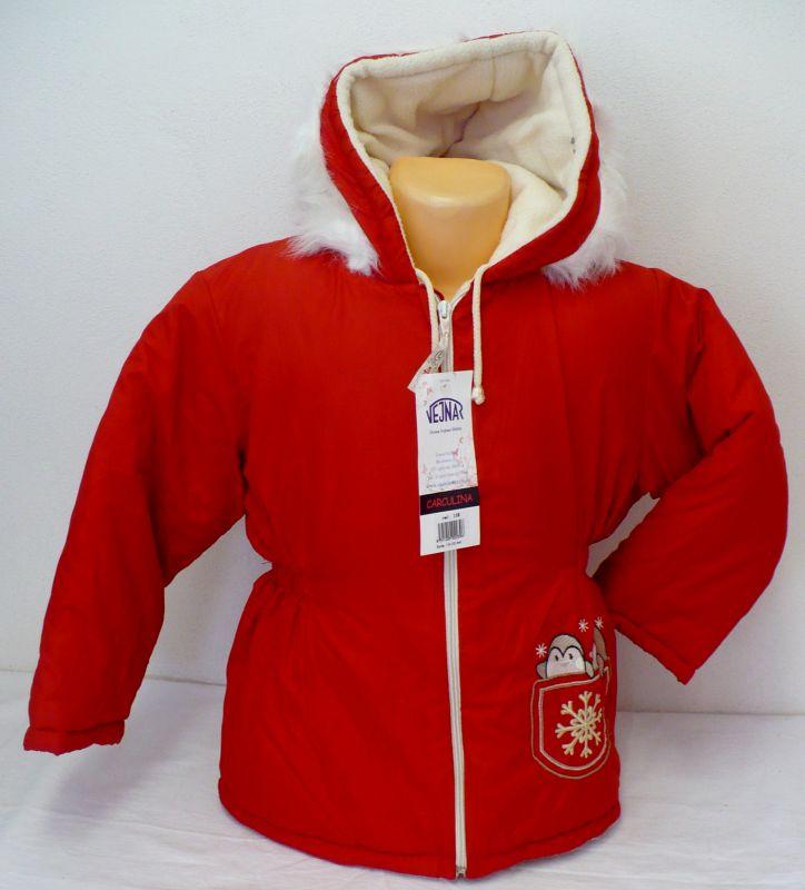 Dívčí zimní bunda kabát s flísem, kapucí červená 116- VÝPRODEJ Vejnar