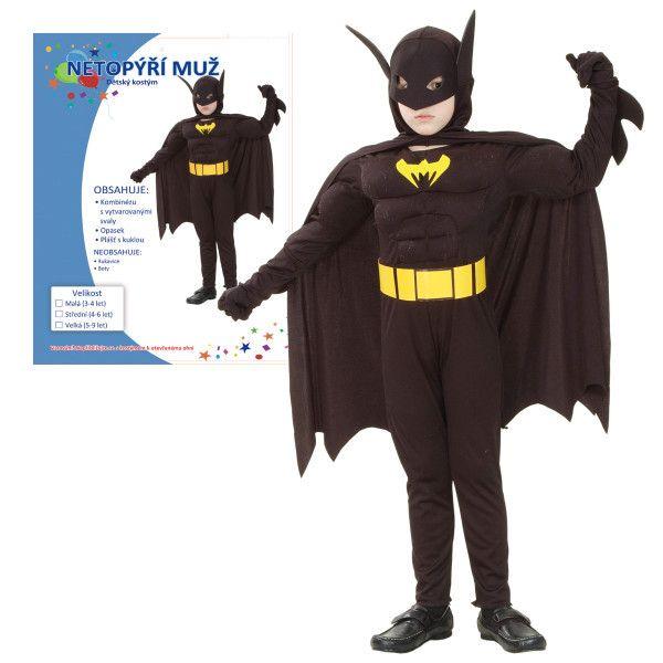 KARNEVAL Šaty NETOPÝŘÍ MUŽ vel. M (120-130 cm) 5-9 let KOSTÝM Batman