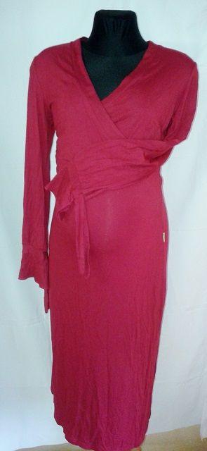 Kojící těhotenská noční košile S/M červená vínová BE MAMA