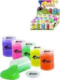 Slizík barevný sliz v plastovém sudu dětská žertovinka 5 barev