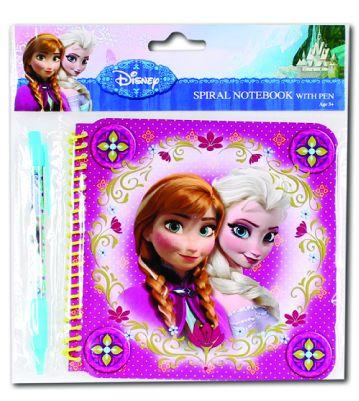 Spirálový notes Frozen s propiskou