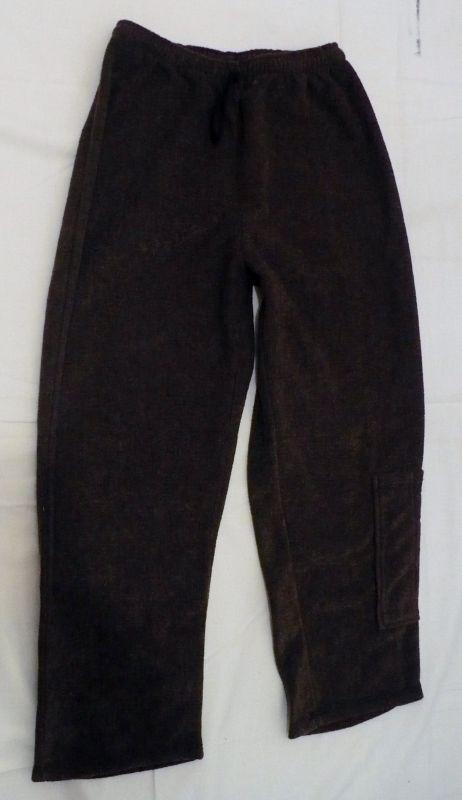Teplé počesané kalhoty tepláky čokoládová hnědá 122 - VÝPRODEJ Betty Mode